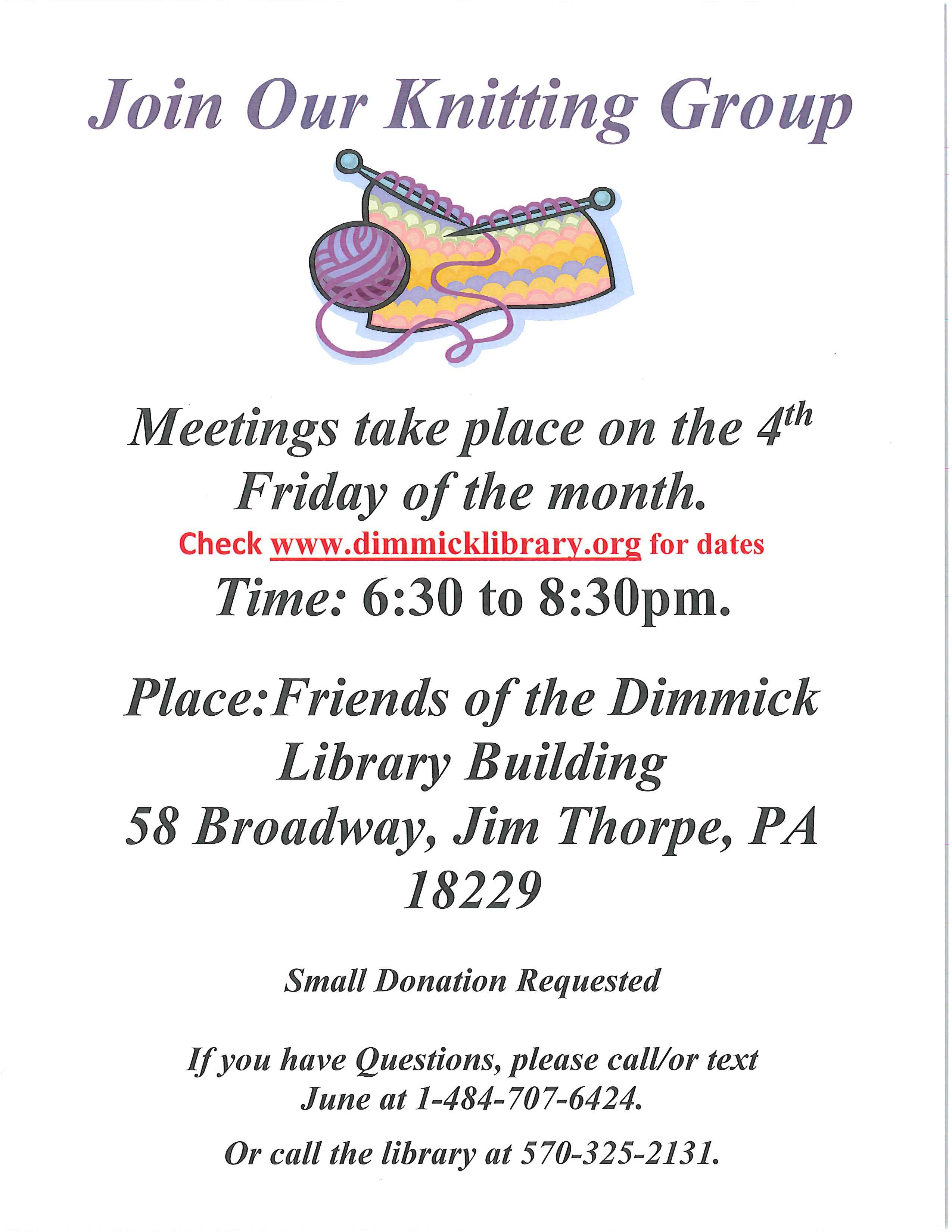 Knitting Club Flyer : Dimmick memorial library knitting group flyer